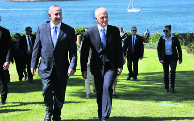Israeli PM Benjamin Netanyahu and Australian PM Malcolm Turnbull arrive at Admiralty House. Photo: Noel Kessel