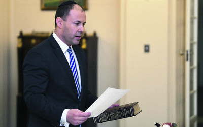 Josh Frydenberg being sworn in as Federal Treasurer last Friday. Photo: AAP Image/Lukas Coch