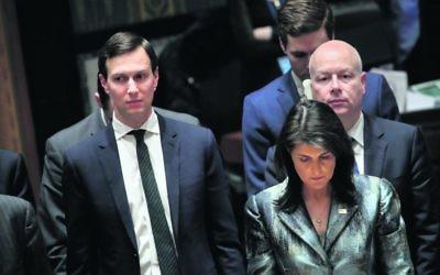 Jared Kushner with US ambassador to the United Nations Nikki Haley. Photo: Drew Angerer/Getty Images