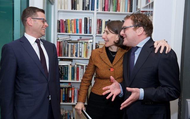 Leslie Berger, Gladys Berejiklian and Jeremy Spinak. Photo: Giselle Haber