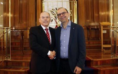 David Mond (left) with Rabbi Ralph Genende this week. Photo: Peter Haskin