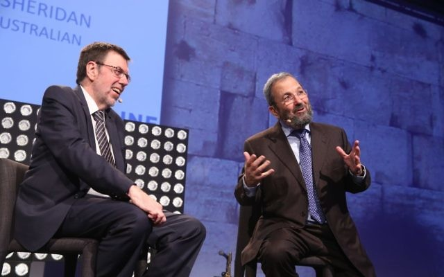 Ehud Barak, (right) with, Greg Sheridan. Photo: Giselle Haber