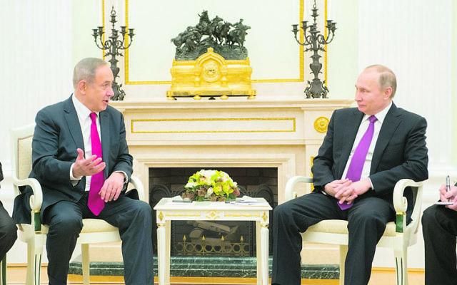 Benjamin Netanyahu meeting Vladimir Putin in Moscow last year. Photo: Facebook