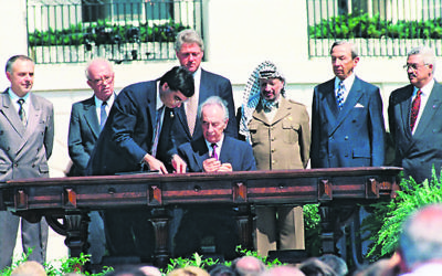 Shimon Peres at the signing ceremony. Photo: Avi Ohayon/GPO