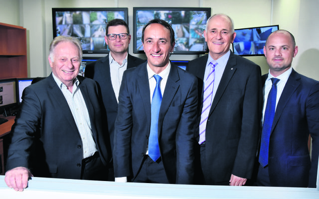 Liberal Candidate for Wentworth, Dave Sharma (centre) with (from left) Peter Wise, Lesli Berger, Peter Wertheim and CSG head of security David Rothman. Photo Noel Kessel