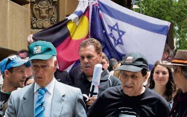 From left: Alfred (Uncle Boydie) Turner, activist Leon Saunders and Abe Schwarz at a 2012 commemoration of William Cooper's walk.