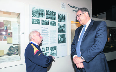 Israel's ambassador Mark Sofer (right) hears about the Jewish Holocaust Centre from survivor guide Abe Goldberg. Photo: Zina Sofer