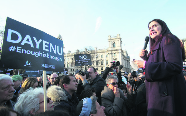 Jewish Labour MP Luciana Berger addressing thousands of British Jews protesting against Corbyn and her party earlier this year. Photo: Yui Mok/PA Wire