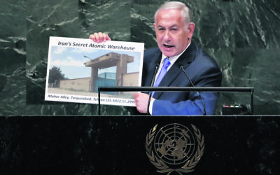 Benjamin Netanyahu addressing the UN General Assembly last week. Photo: AP Photo/Richard Drew