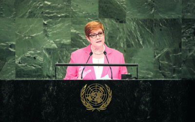 Marise Payne addressing the UN General Assembly. Photo: UN Photo/Loey Felipe