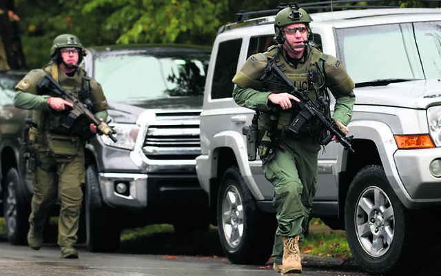 Police responding to the shooting at the Tree of Life synagogue. Photo: Jeff Swensen/Getty Images