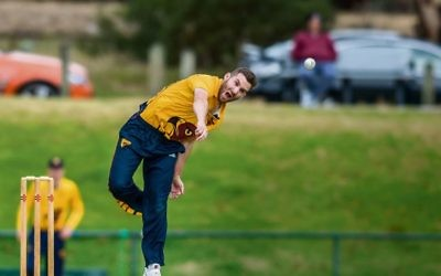 Bowler Justin Kramersh in action. Photo: Diggle Photography