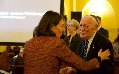Premier Gladys Berejiklian greets Holocaust survivor Eddie Jaku at this year's Kristallnacht commemoration. Photo: Giselle Haber