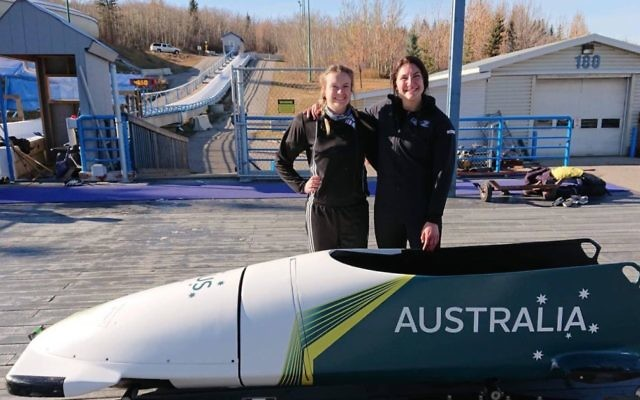 Ashleigh Werner (right) and Australian women's bobsleigh squad teammate Kaela Sparre in Whistler, Canada.