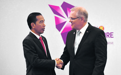 Indonesia's President Joko Widodo (left) meeting with Scott Photo: AAP Image/Mick Tsikas