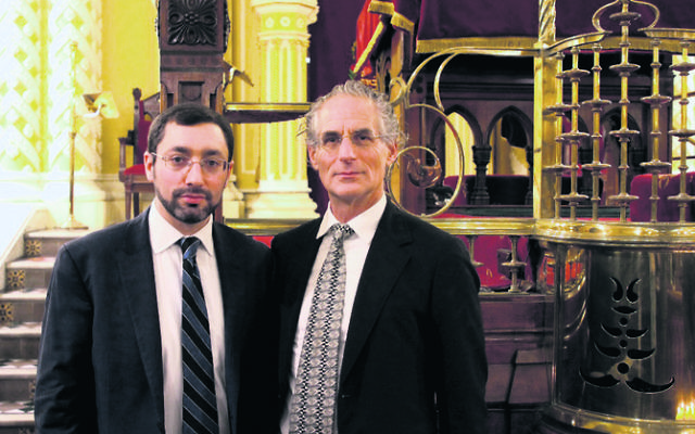 Rabbi Dr Benjamin Elton (Modern Orthodox) and Rabbi Jeffrey Kamins (Masorti) came together to honour the victims and their families.  Photo: Wendy Bookatz