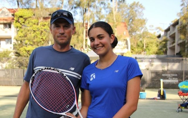 Lara Kaplan with her coach Piotr Haczek at Maccabi's White City courts. Photo: Shane Desiatnik