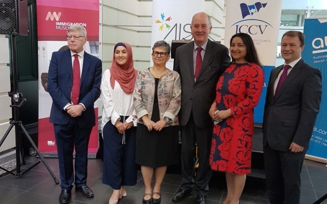 From left, Bruce Atkinson, Saara Sabbagh, Jennifer Huppert, Richard Wynne, Rohini Kappadath, general manager of the Immigration Museum, and Ahmet Keskin.