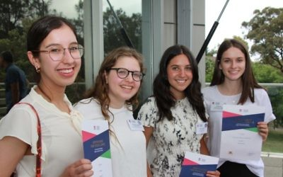 From left: Genevieve Goldman, Rivka Hirschowitz, Sophie Puterflam and Ariella Rev with their HSC First In Course certificates. Photo: Shane Desiatnik