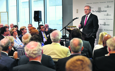 Prime Minister Scott Morrison speaking at the Sydney Institute last Saturday. Photo: AAP Image/Mick Tsikas
