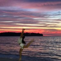 Cynthia Pollak entered this photo of granddaughter Dahlia Sion playing on the beach in Phuket at sunset.