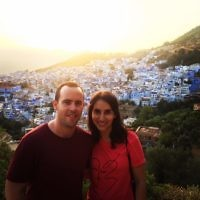Dan Smith and his wife hiking in Chefchouen,- the blue city of Morocco.