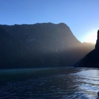 Edward Baral  entered this sunrise photo taken over Milford Sound in New Zealand.
