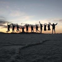 Jessica Nash and friends in Bolivia at sunset.