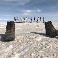 Jessica Nash 'shrinks' her friends on the Bolivian salt flats.