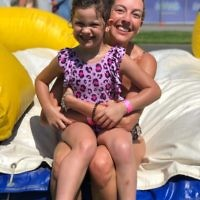 Cousins cooling off at Splashland water slide park in Caulfield. Entered by Michelle Sobel.