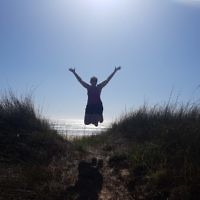 Peter Shonberg entered this photo of wife Diane jumping for joy in Windang.