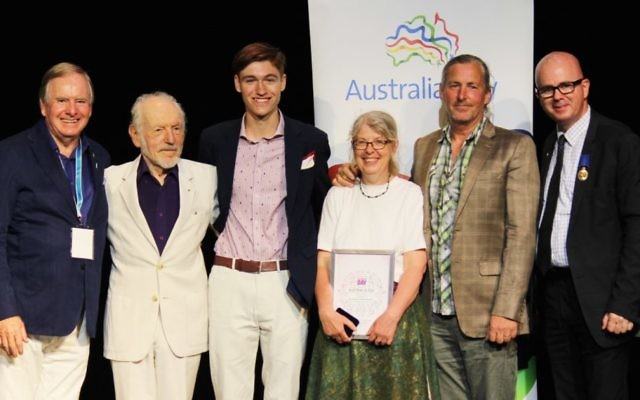 George Winston (second from left) with Blue Mountains mayor Mark Greenhill (first on right) and other Blue Mountains Australia Day award recipients. Photo: Blue Mountains City Council