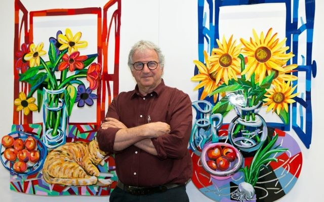 David Gerstein with his artworks, Afternoon Nap and Hello Vincent.  Photo: Ofer Levy