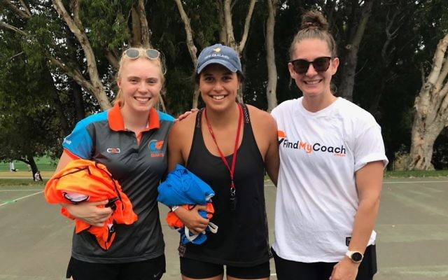 """From left to right: NSW Netball stars Grace Hill, Claire O'Brien and Abbey McCullough at the Maccabi NSW Netball Club's recent """"Train with a Swift"""" clinic."""