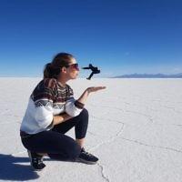 Rachel Flitman blowing Iddo Snir away - Salt Flats, near Uyini, Bolivia.