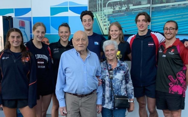 Nachum and Edna Buch (front) with (from left) Victorian swimmers Brooke Roseman, Jordana Marks, Isabella Smorgon, Jesse Nissen, Ashley Weill, Benno Negri, and NSW swimmer Zac Freuden.