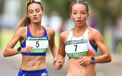 Jemima Montag (right) in action at the 2019 Australian and Oceania 20km Race Walking Championships in Adelaide. Photo: Instagram