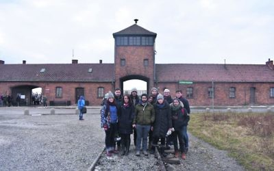The student leaders visiting Auschwitz.