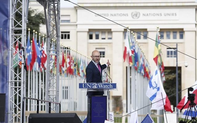 Arsen Ostrovsky speaking outside the United Nations in Geneva last week.
