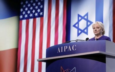 Romanian Prime Minister Viorica Dăncilă speaks at AIPAC's annual policy conference (Viorica Dăncilă Twitter feed)