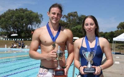 Men's and women's 2019 AJN Cup champions Kyron Israelsohn and Gabriella Goodridge. Photo: Shane Desiatnik