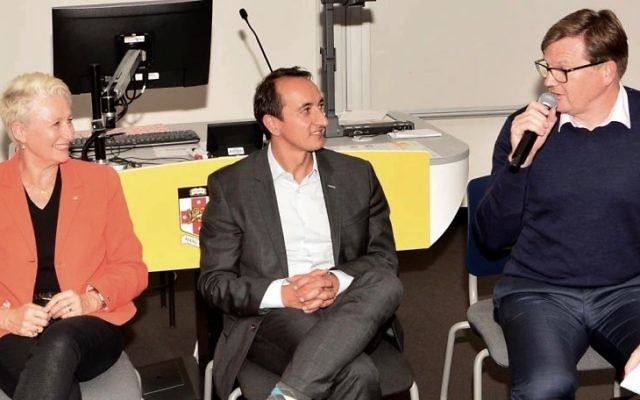 From left: Dr Kerryn Phelps MP, Dave Sharma and Tim Murray at the AUJS/AJN Wentworth forum. Photo: Henry Benjamin
