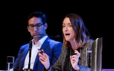 Steph Hodgins-May (right) and Josh Burns taking part in the AUJS 2019 election debate. Photo: Peter Haskin