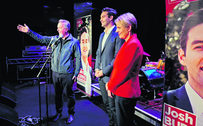 From left: Victorian MP Martin Foley, ALP Macnamara candidate Josh Burns and Deputy ALP Leader Tanya Plibersek at Burns' campaign launch. Photo: Simon Kosmer