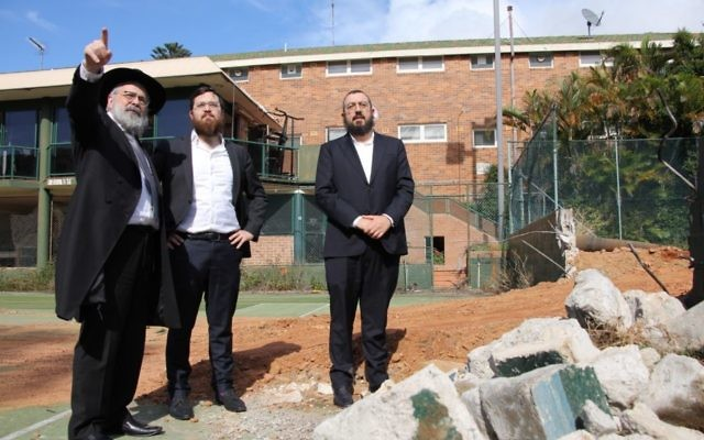 From left: Rabbi Yehoram Ulman, Rabbi Mendy Ulman and Rabbi Eli Schlanger on site. Photos: Shane Desiatnik