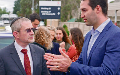 Mount Scopus principal Rabbi James Kennard (left) with ALP candidate Josh Burns at Caulfield Hospital last Sunday. Photo: Simon Kosmer