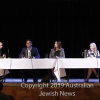 7-4-19. Macnamara electorate debate at Glen Eira Town Hall. From left: Josh Kirsh, moderator (AUJS) Josh Burns (ALP), Steph Hodgins-May (Greens), Kate Ashmor (Lib). Photo: Peter Haskin
