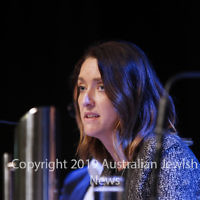 7-4-19. Macnamara electorate debate at Glen Eira Town Hall. Steph Hodgins-May (Greens). Photo: Peter Haskin