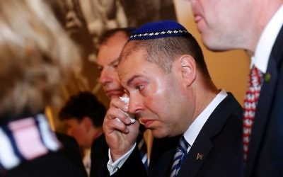 An emotional Josh Frydenberg at the Jewish Holocaust Centre on Thursday morning. Photo: Peter Haskin