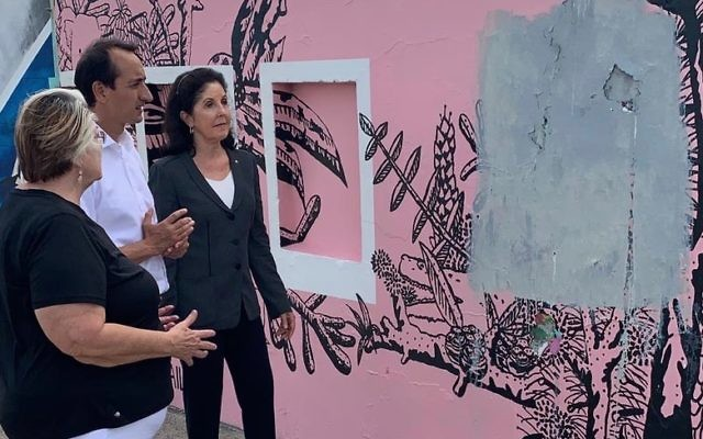 From left: Waverley Liberal councillor Sally Betts, Liberal candidate for Wentworth Dave Sharma, and NSW Jewish Board of Deputies acting president Isabelle Shapiro at the Bondi promenade where swastikas  were daubed last week.